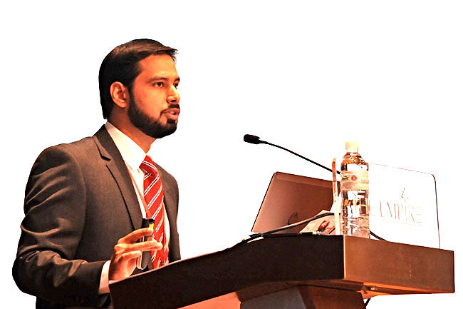 Head of Research and Product Development of Islamic Finance at Thompson Reuters, Mustafa Adil, pre-senting his talk on the global Islamic economy.