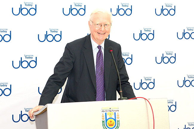 Sir James A. Mirrless at UBD delivering talk`